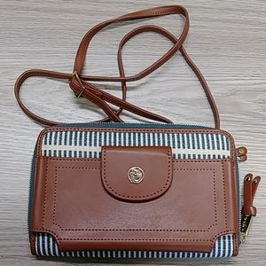 New Bl/Crm w/Med. Brown  Trim Phone Crossbody